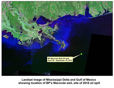 Landsat image of Mississippi Delta and Gulf of Mexico, showing location of BP's Macondo well, site of 2010 oil spill