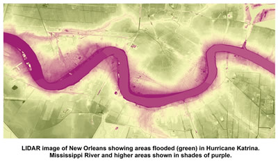 Lidar image of New Orleans, showing area flooded in Hurricane Katrina